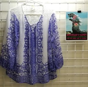 Anthropology Fig and Flower Boho Blouse Sz XL